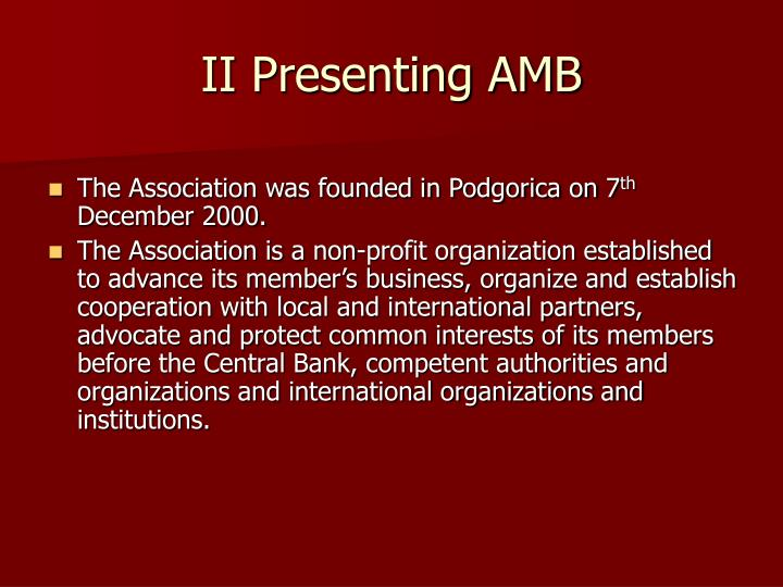 II Presenting AMB