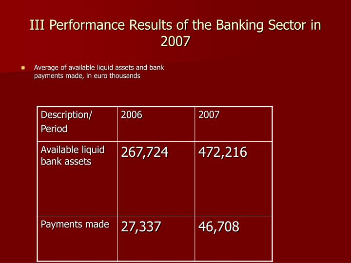 III Performance Results of