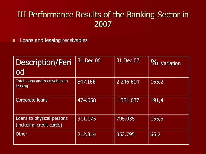 III Performance Results of the Banking Sector in 2007