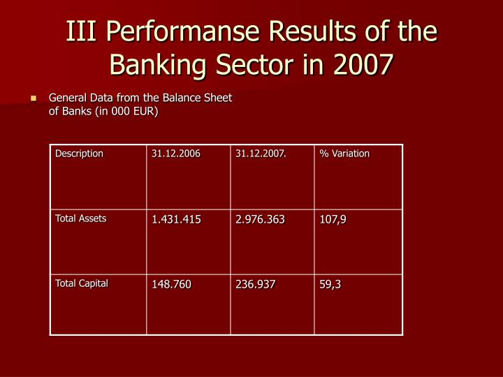 III Performanse Results of the Banking Sector in 2007