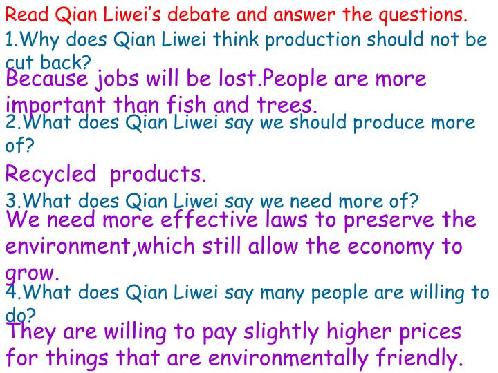 Read Qian Liwei's debate and answer the questions.