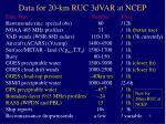 data for 20 km ruc 3dvar at ncep