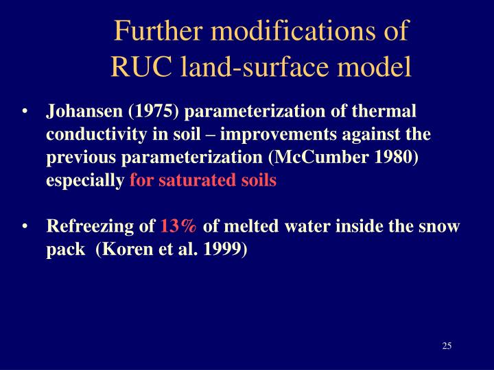 Further modifications of RUC land-surface model