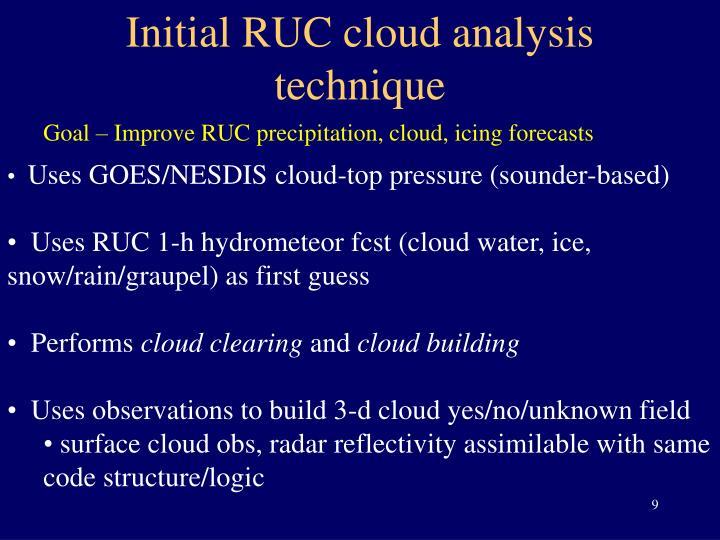 Initial RUC cloud analysis technique