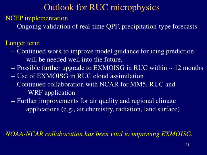 Outlook for RUC microphysics