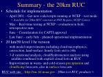 summary the 20km ruc