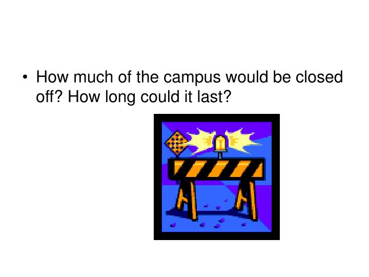 How much of the campus would be closed off? How long could it last?
