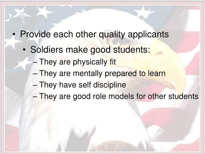 Provide each other quality applicants