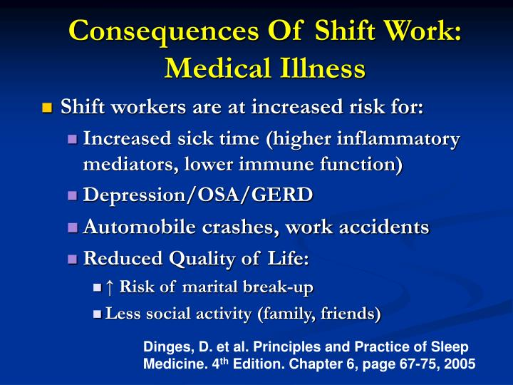 Consequences Of Shift Work: Medical Illness