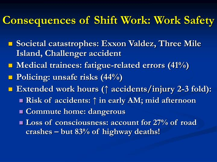 Consequences of Shift Work: Work Safety