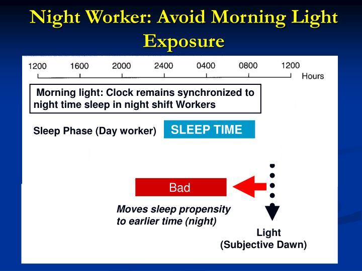Night Worker: Avoid Morning Light Exposure