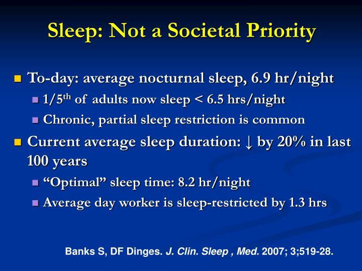 Sleep: Not a Societal Priority