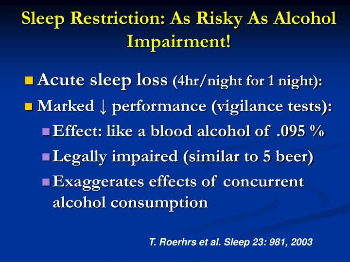 Sleep Restriction: As Risky As Alcohol
