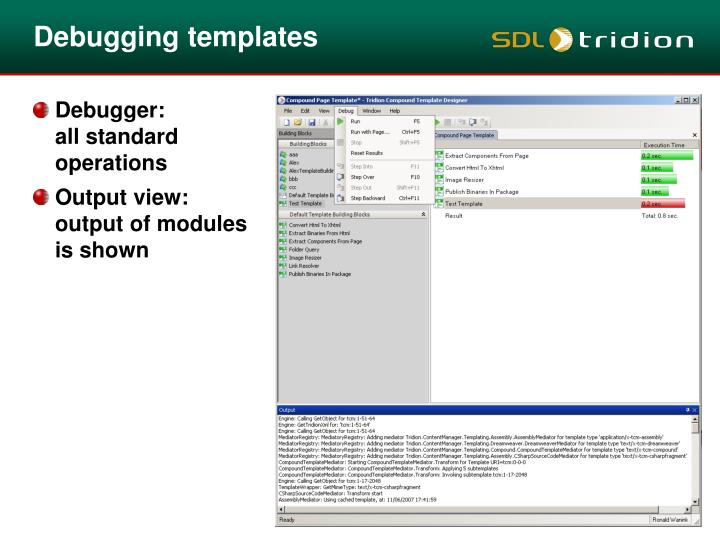 Debugging templates