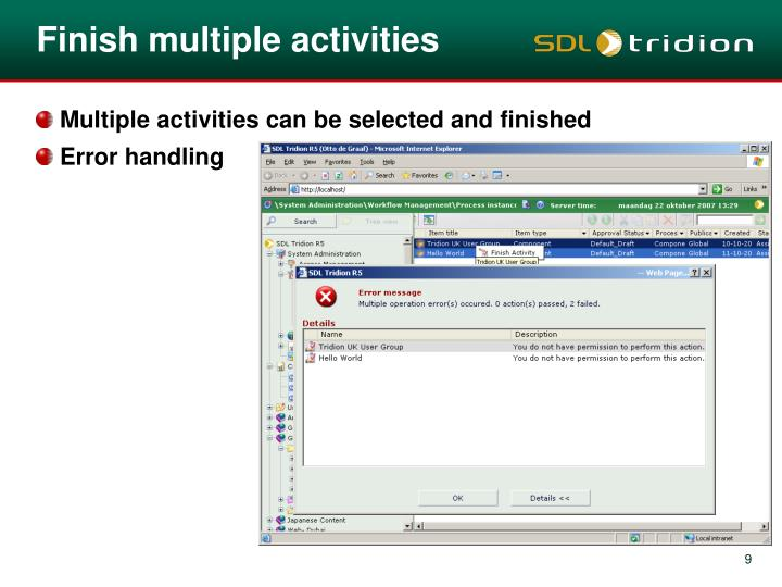Finish multiple activities