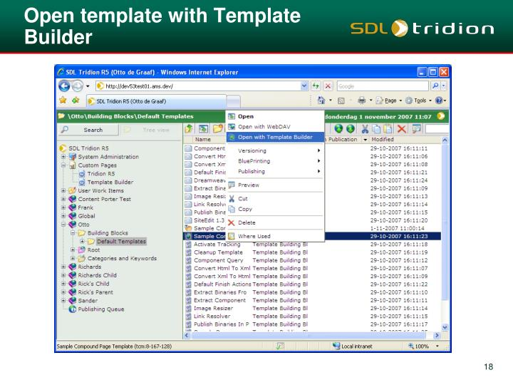 Open template with Template Builder