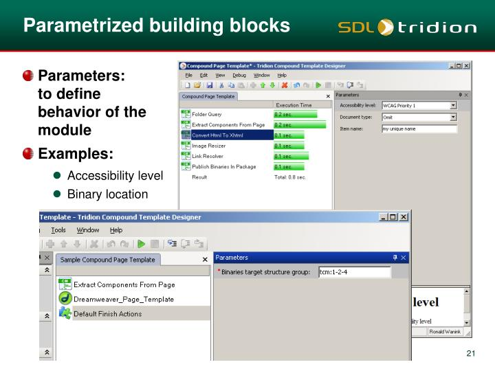 Parametrized building blocks