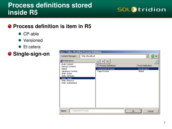 Process definitions stored