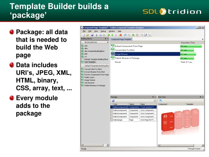Template Builder builds a 'package'