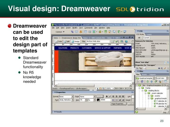 Visual design: Dreamweaver