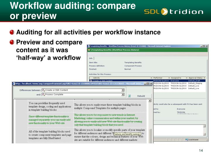 Workflow auditing: compare or preview