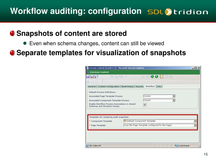 Workflow auditing: configuration