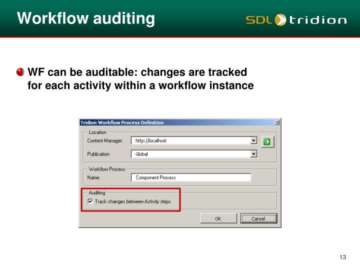 Workflow auditing