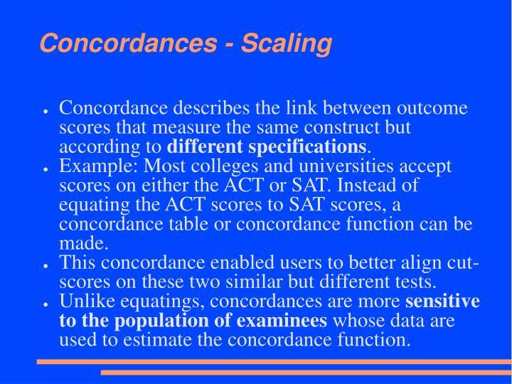 Concordances - Scaling