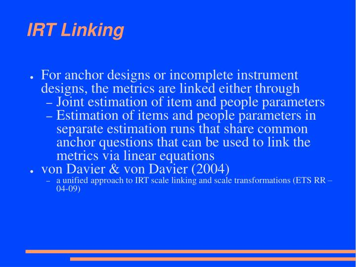 IRT Linking