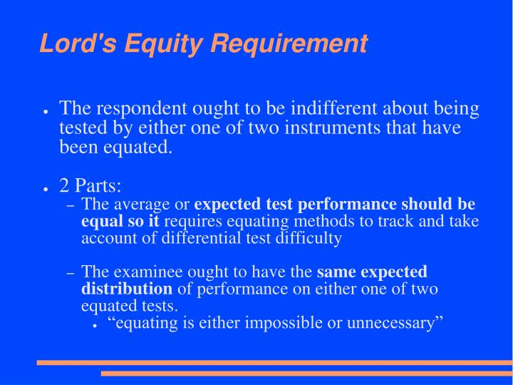 Lord's Equity Requirement