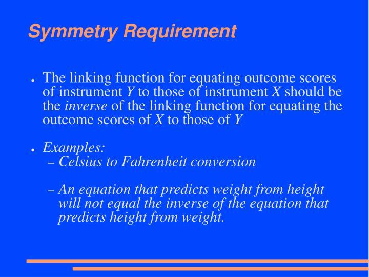 Symmetry Requirement