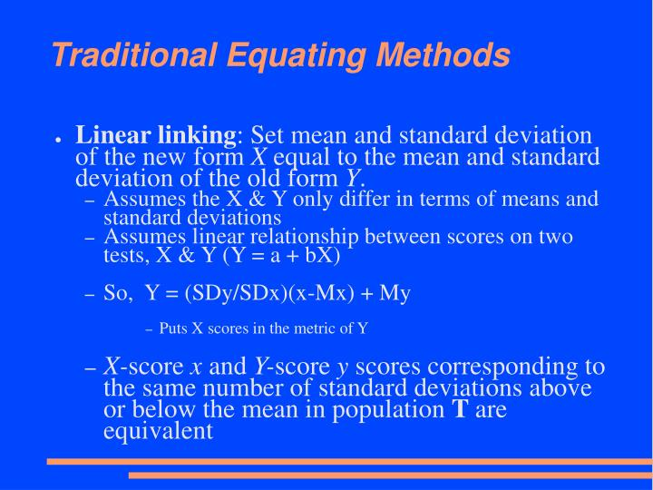Traditional Equating Methods