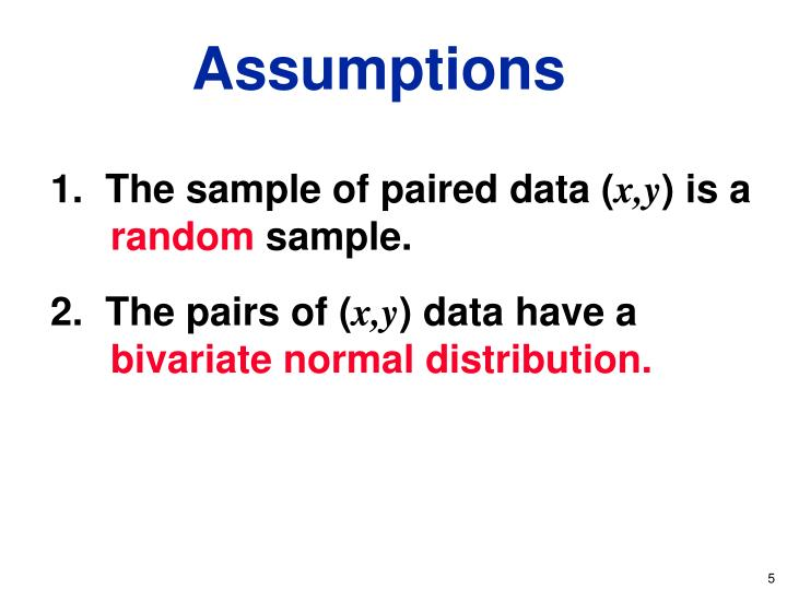 1.  The sample of paired data (
