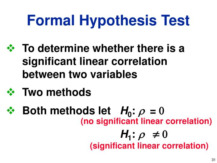 To determine whether there is a      significant linear correlation between two variables