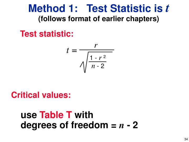 Method 1:   Test Statistic is
