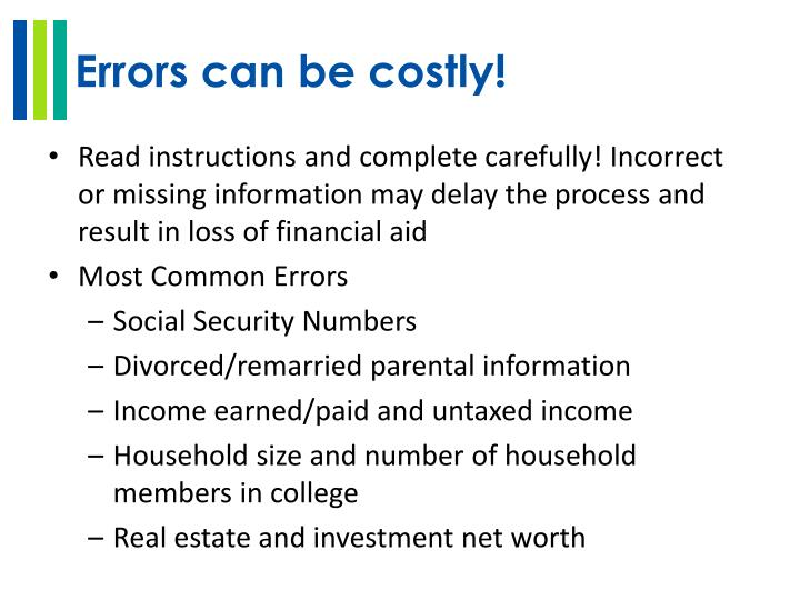 Errors can be costly!