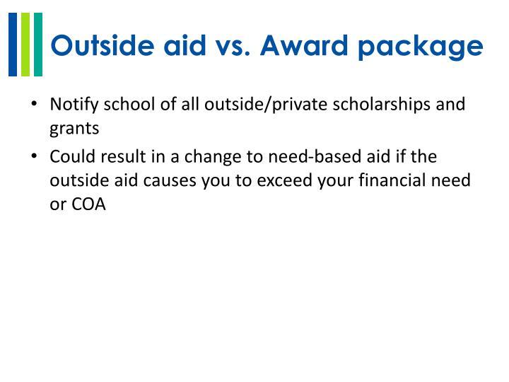 Outside aid vs. Award package