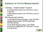 summary of active measurements