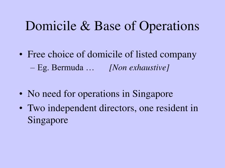 Domicile & Base of Operations