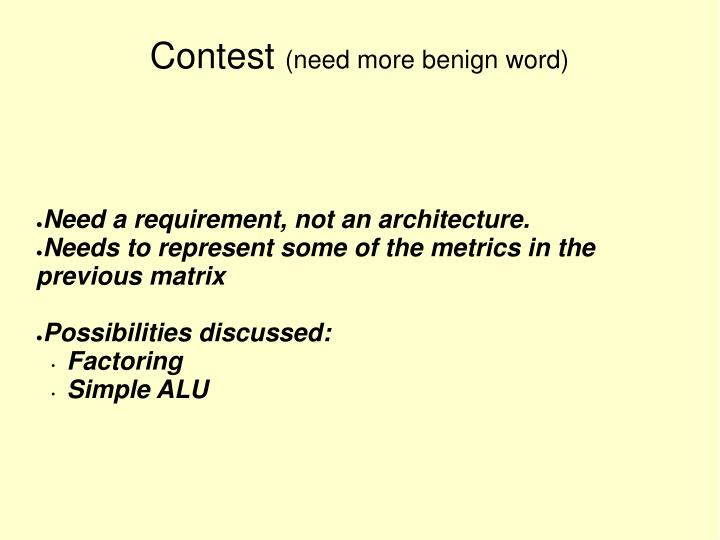 Need a requirement, not an architecture.