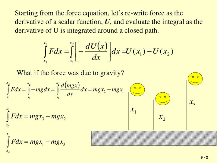 Starting from the force equation, let's re-write force as the derivative of a scalar function,