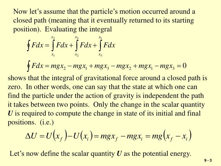 Now let's assume that the particle's motion occurred around a closed path (meaning that it event...