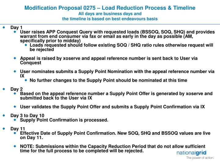 Modification Proposal 0275 – Load Reduction Process & Timeline