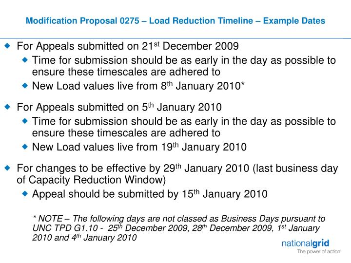 Modification Proposal 0275 – Load Reduction Timeline – Example Dates