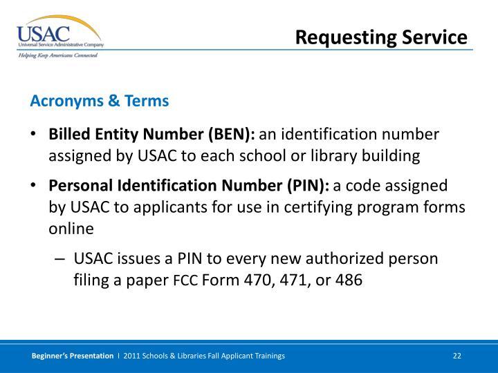 Billed Entity Number (BEN):