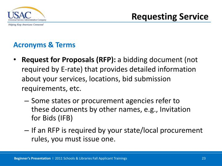 Request for Proposals (RFP):