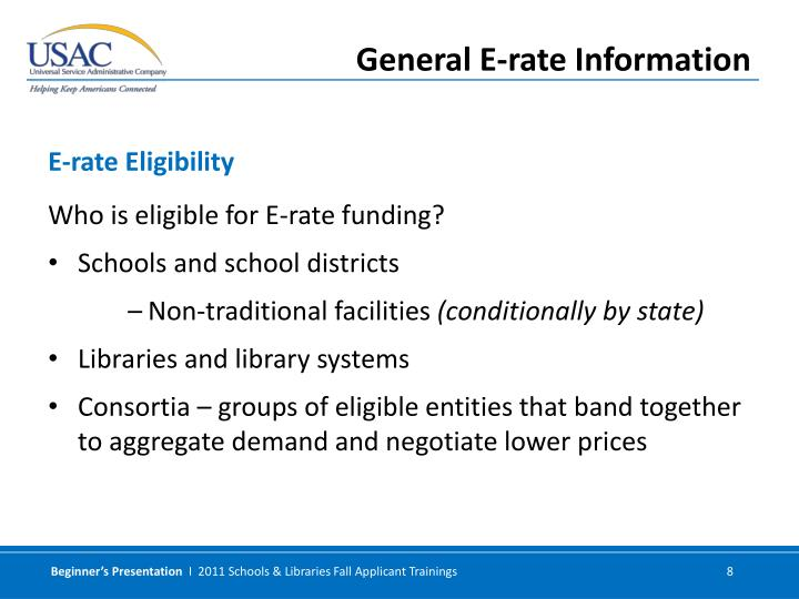 Who is eligible for E-rate funding?