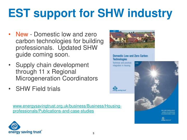 Est support for shw industry