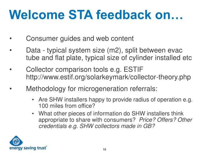 Welcome STA feedback on…