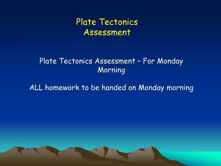 Plate Tectonics Assessment